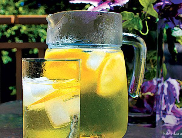 Зелёный чай со свежими листиками мяты
